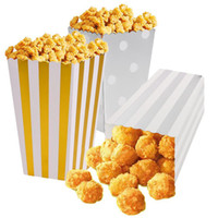 12pcs / lot Gold / Silver Metallic Mini Party Paper Popcorn Boxes Candy / Snack Favor Bags Wedding Birthday Movie Party Supplies V4014