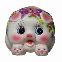 schwarze sparschwein groihandel-Piggy Querneigung-Hauptdekoration des Sparschweins kreativer großer keramischer Krug nette übergroße