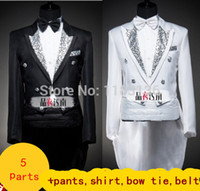 Wholesale Marry Dress Suits For Men - Wholesale- Male formal tuxedo costume dress set married suit male black white include pants shirt tie belt for groom singer dancer party