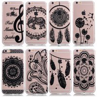 Wholesale Iphone Elephant Silicone Case - Mandala Elephant Henna Soft Tpu Silicone Phone Case Cover For iPhone 5 6 7 Plus Samsung S6 7