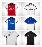 Wholesale Tee Shirts Lapels - PLus size S~2XL Sales Golf polo Men's T-shirt multi color slim polo shirt lapel short-sleeve shark new US countries Tees mix order