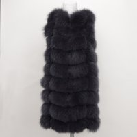 Wholesale Women Gilet Vest Green - 100% Real Fox Fur Vest Natural Whole Fox Fur Vest Gilet Women Regular Standard Covered Jackets Coat Plus Size 3XL