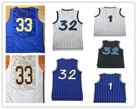 Wholesale Men S Red Stripe Shirt - Throwback Basketball 32 Shaquille O'Neal Shaq Jersey Shirts Stitched 1 Tracy McGrady 1 Penny Hardaway Jersey Black Blue White Stripe Good