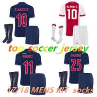 Wholesale Lavender Sets - 2017 2018 New Ajax soccer jersey kit set socks 17 18 10 KLAASSEN away MELIK DIJKS EL GHAZI YOUNES Ajax football shirts soccer jersey shorts