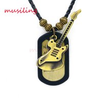 Wholesale Skull Print Hat - Leather Necklace Copper Alloy Tags Hat Skull Foot print Guitar Pendants Jewelry High Quality Accessories Metal Hip Hop Jewelry
