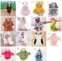 Wholesale cute shark - Cute animal bathrobe Flannel Kids shark fox mouse owl model Robes cartoon Nightgown Children Towels Hooded bathrobes