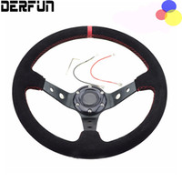 Wholesale 14 Inch Steering Wheels - Universal MOMO Steering Wheel 14 inch 350mm Suede Leather Steering Wheel Yellow Line Race Deep Corn Drifting