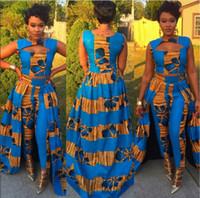traditionelle lange tops großhandel-Formale zweiteilige Kleid Set traditionelle afrikanische Dashiki lange ärmellose Weste Tops dünne Hosen Cocktail Party Abend Maxi Kleider Clubwear