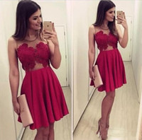 Wholesale Cute Simple Prom Dresses - Cute Sexy Chiffon Knee-Length Homecoming dress A-Line Jewel Sleeveless Evening Prom Dresses Spring Summer Graduation Gowns Cheap