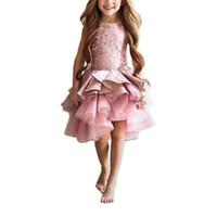 ternos do baile de finalistas dos miúdos venda por atacado-2017 Blush Curto Crianças Meninas Pageant Entrevista Ternos Rosa Puffy Meninas Prom Vestido de Miúdos Tule Crianças Vestidos de Noite