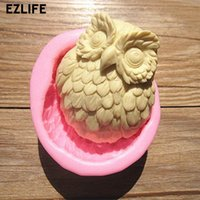 Wholesale Handmade 3d Shape - Wholesale- EZLIFE DIY Sell hot 3D owl shaped silicone soap mold fondant Cake decoration mold Handmade soap mold KT0417