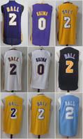 Wholesale Ball Stops - 2017-18 New #0 Kyle Kuzma 2 Lonzo Ball Jersey Men 14 Brandon Ingram stitched Jerseys Cheap sales Yellow White Cheap sales