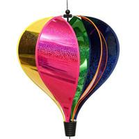 Wholesale Kite Tails - Wholesale-Rainbow Windsock Hot Air Balloon Wind Spinner Garden Yard Outdoor Decor Wih Tail Large Rainbow Beach Kites
