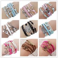 Wholesale Pearl Anchor Charm - Fashion LOVE bracelets friendship jewelry for women Anti-gold Bohemian Infinity Anchor glass pearl charm bracelet wholesale