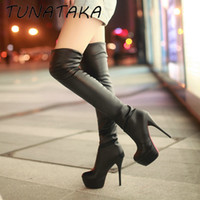 Wholesale Platform Thigh Boots - Wholesale-Womens Sexy Slim Stretch Thigh High Boots Faux Leather Platform High Heel Over the Knee Boots Black Brown White