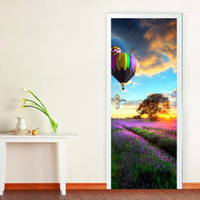 3D Hot-Air Balloon Door Mural Sticker Romance Florals Lavanda Pegatinas de Pared Decorativo 3D de Gran Tamaño 77 * 200 cm Material de Papel Decoración Del Hogar