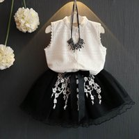 Wholesale Lace Necklace Child - Girls Summer Clothing Sets Chiffon Shirts+Lace Black Tulle Two Piece Fashion Outfits Children Clothes AZ378 Not Have Necklace