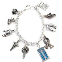 12pcs Bracciale ispirato a Doctor Who. Companions tardis Charm Bracelet Bracciale in argento con charms