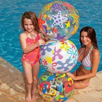 bola de peixe inflável venda por atacado-51 CM Bola De Praia de Plástico Brinquedos Rodada Estrela Peixe Bola Inflável Adulto Crianças Areia Jogar Água Divertido Brinquedos WX-H11