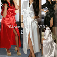 Wholesale Sexy Lingerie Long Gown - Wholesale- Long Black Sexy SILK Kimono Dressing Gown Bath Robe Babydoll Lingerie Nightdress