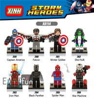 8PCS Captain America Building Blocks Spider Man Mini Figures Super Heroes Iron Man Avengers Figures Bricks Jouets Figurines d'action Marvel Blocks