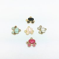 Wholesale Car Charms For Necklaces - Free Shipping 10pcs lot DIY Korean Jewelry Accessories 12*13mm Plated K Gold Enamel Alloy Pumpkin Car Charms Pendant For Necklace Bracelet
