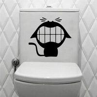 Wholesale Diy Deco Bathroom - fashion cute 5pcs big mouth smile cat toilet stickers wall decoration DIY vinyl adhesive home deco