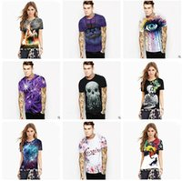 Wholesale Wholesale Digital Printing Clothes - Couple Clothing t shirts for Men 2017 Summer Tops for Men 3D Digital Printed Men's 3D T-Shirts Skull Einstein Tiger Printed Tees