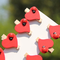 Wholesale Mini Pegs Red - Free Shipping Cute Mini Red Heart with Ladybug Clothes Peg for Paper Clip ,Photo Clip 80pcs