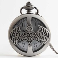 Atacado-Batman Vintage Charm Unisex Round Quartz Pocket Watch Necklace Pendant For Movie Memento