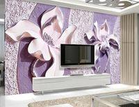lila tapete für wohnzimmer großhandel-benutzerdefinierte tapete für wände 3 d Geprägte lila magnolie foto wandbild tapeten für wohnzimmer