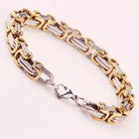 Wholesale Mens Figaro Chain Bracelet - Wholesale! Mens Byzantine Box Link Bracelets 316L Stainless Steel Chain For Men Fashion Punk Jewlery 22cm*0.8cm