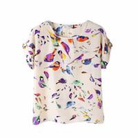 Wholesale T Shirt Birds Women - Wholesale- Summer Fashion O Neck Bird Printed Women Tops Colorful Short Sleeve Female T-Shirts Batwing Loose Chiffon Shirt Feminino