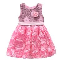 Wholesale Childrens Neck Ties - European Baby Girls Flower Wedding Party Gown Childrens Tutu Tied Waist Dress Girls Princess Dresses Birthday Kids Clothing 2017 New