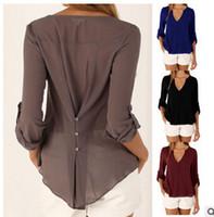 blusa modelos mulheres venda por atacado-Hot 7 Cores temperamento Blusas Femininas Chiffon Camisas Modelos Femininos de Manga Comprida V Collar Solto Grande Tamanho das Roupas Femininas 6116