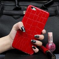 étui iphone croco achat en gros de-Croco de grain de crocodile de mode cas brillants cas de couverture arrière dure de PC pour l'iPhone 5 5s 6 6s 6 7 plus 6s 7 plus
