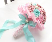 Wholesale Silk Rose Bows - Luxury Pink Blue Rose Wedding Bouquet Bow-knot Pearls Silk Handmade Bridal Bridesmaid Flowers 20cm Diameter New