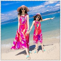 Wholesale Green Single Ruffle Dress - Mother and Daughter Matching Dress Summer Mother Daughter Clothes Chiffon Dress Ruffle Sunflower Bohemian Beach Dress Family Clothing