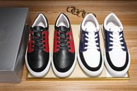 Wholesale Sneaker Shoes Brand - 2017 Summer Newest Top Quality Mens Fashion Red Blue Leather Luxury Brand Low Top Lace Up Sneakers Designer Mens Fashion Sneaker Shoes