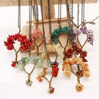 Wholesale Crystal Lucky Tree - 2018 New Pendants Fashion Water Fashion Lucky Life Tree DIY Hand-Woven Sweater Chain Multi-Color Natural Crystal Necklace Pendants D191S