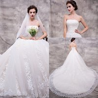 Wholesale Strapless Ball Gown Cathedral Train - Free Shipping Strapless Lace Ball Gown Wedding Dresses White Tulle Organza Appliques Cathedral Train Cheap Wedding Gowns Bridal Dress