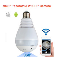 Wholesale Lens Panoramic - Fisheye Lens 360 Wireless Panoramic HD IP Camera,Led Bulb Home Security System With Real Time Surveillance And Intercom,White