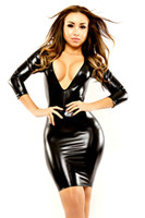 Wholesale Super Sexy Deep V Neck - Super Attractive Women Black Faux Leather Mini Dress Deep V Neck Fetish Bodycon Catsuit Lady Exotic Nightclub Party Dresses