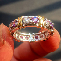 Marque Jewlery Femmes 925 Argent Violet Simulé Diamond Cubic Zirconia Tanzanite Or Jaune Croix Eternal Band Wedding Ring
