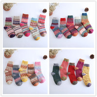Wholesale Wholesale Women Thermals - 5 Styles Wool Socks Women Winter Thermal Warm Socks Female Crew Fashion Colorful Thick Socks Ladies Casual National style Sock Free Shipping