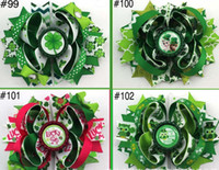 Wholesale Over Top Hair Bows - new St patricks day girls Baby hair bows Barrettes Top festival Hairbows St patrick's day feather hair clips over 105style choose free ship