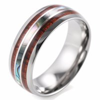 Wholesale Wood Animal Inlays - Fashion Jewelry Rings SHARDON Men's 8mm Titanium Wedding Ring With Double Wood & Pearl Shell Inlay Men's Ring size 8-13