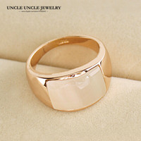 Unisexe!!! Rose Or Couleur Haute Qualité Rectangle Opales Retro Trendsetter Bague En Gros