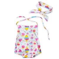 Wholesale Ice Cream Baby Set - Baby girls cute ice cream halterneck Romer 2pc set bowknot headband+romper watermelon strawberry ice-cream cone pattern ins hot jumpsuit