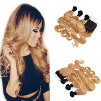 Wholesale Dark Honey Blonde Hair - 9A Two Tone 1B 27 Honey Blonde Dark Roots Ombre Body Wave Virgin Human Hair Bundles With Free Middle 3 Part Lace Closure